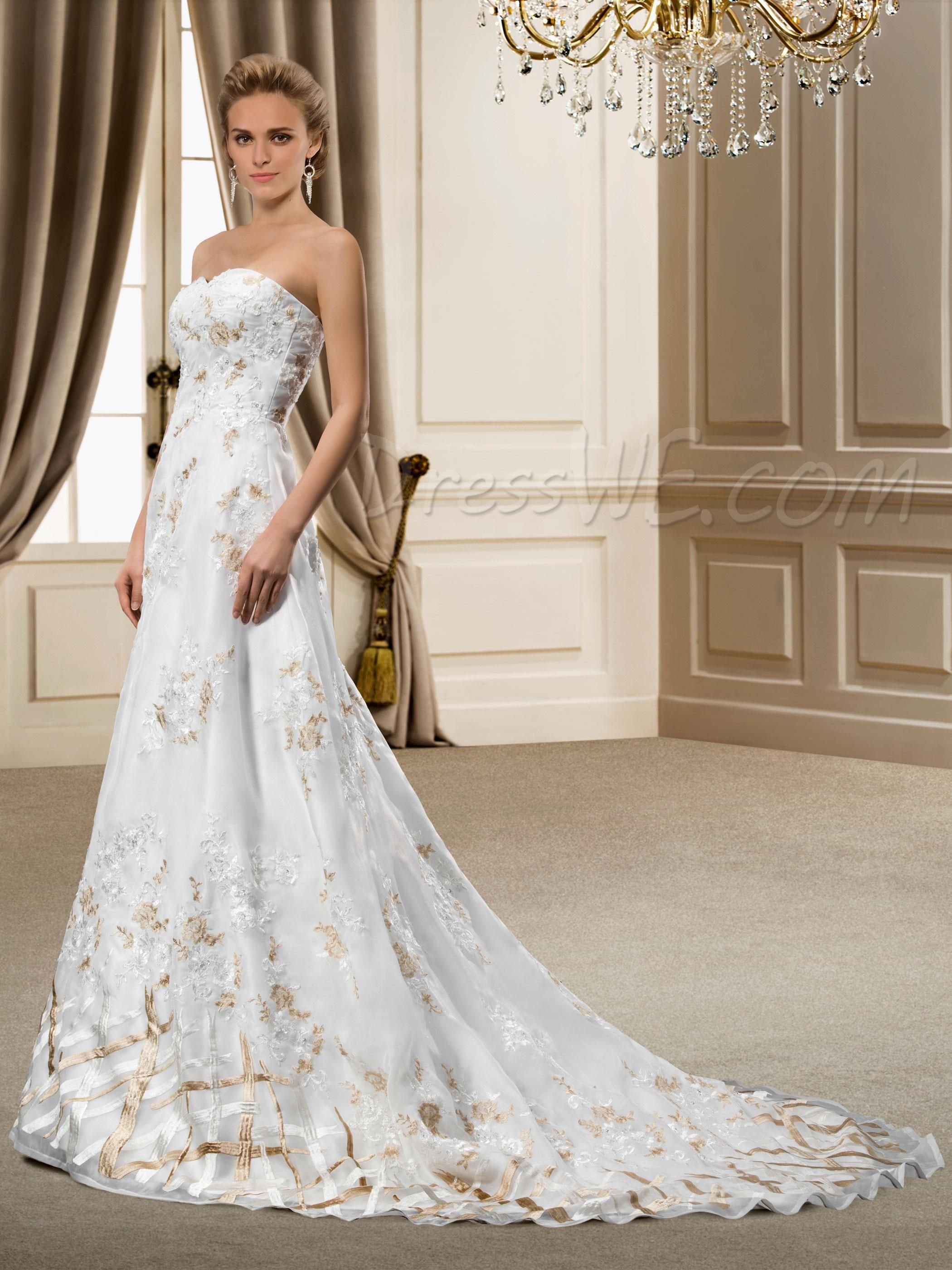 Modest wedding dresses under 200   Dresswe SUPPLIES Appealing Sweetheart Court Train