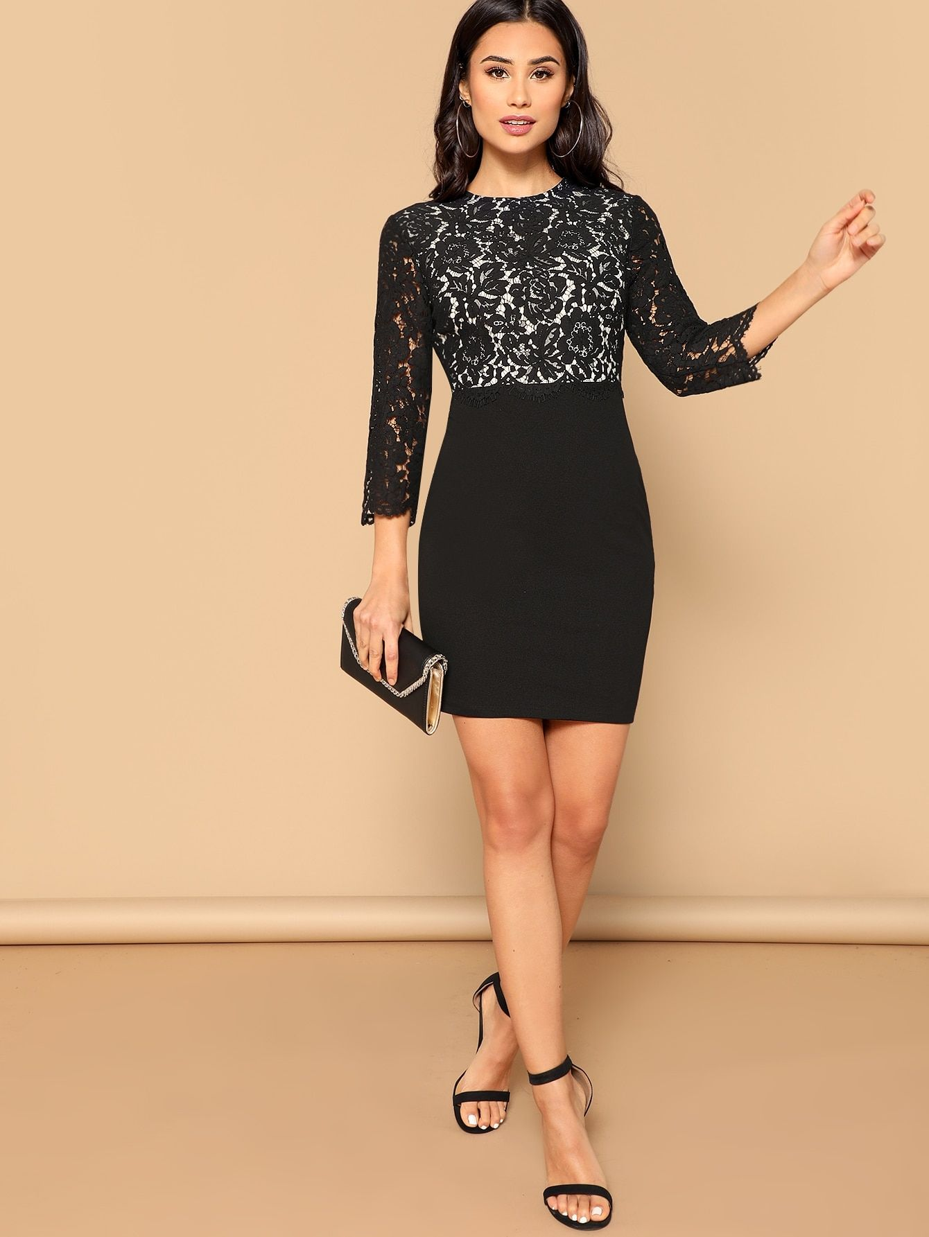 688d41408d Party Sheer and Contrast Lace and Zipper Bodycon Round Neck Three Quarter  Length Sleeve Regular Sleeve High Waist Black Short Length Floral Lace  Bodice ...