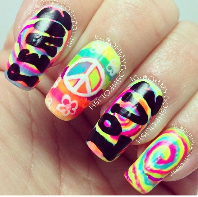Colorful hippy nails make up nails pinterest hippie nail hippie and nail art image on we heart it prinsesfo Choice Image