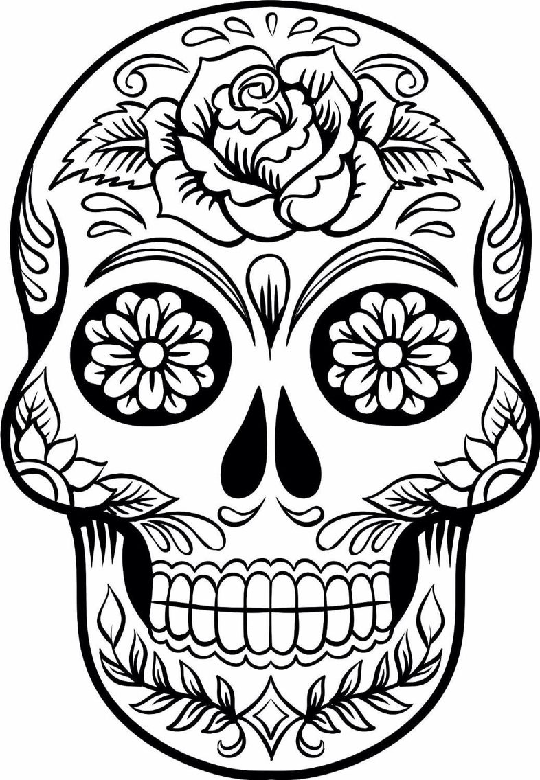 Sugar Skull Template Sugar skull 1 Skull coloring pages Sugar skull drawing