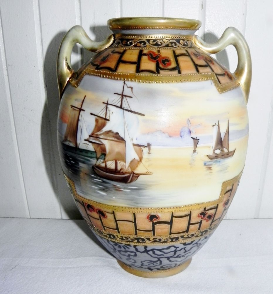 Antique 1900 Nippon Vase Gold Gilt Moriage Sailboat Boat Sailing Ship 2 Handles #Nippon