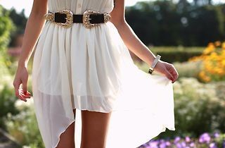 Pretty white sheer dress cut