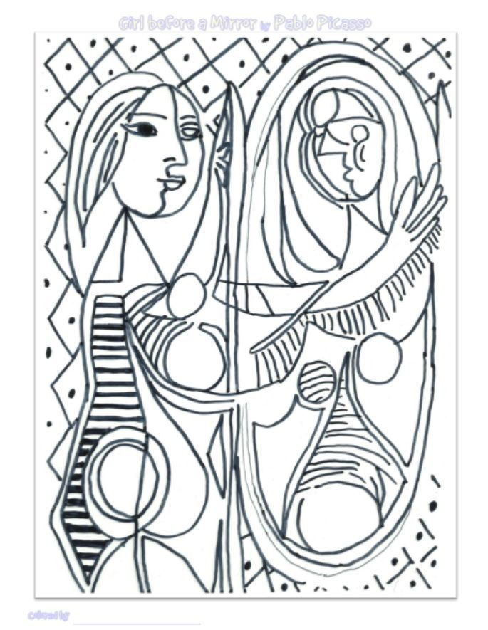 Pablo Picasso Coloring Pages Girl Before A Mirror A Pablo Picasso Coloring Page Picasso Coloring Coloring Pages Picasso Drawing