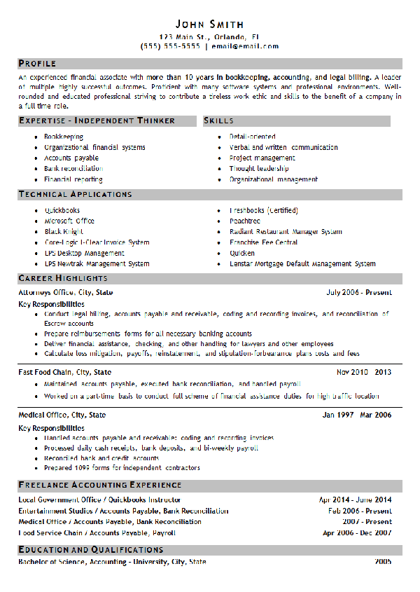 Bookkeeping Resume Example | Resume examples and 10 years
