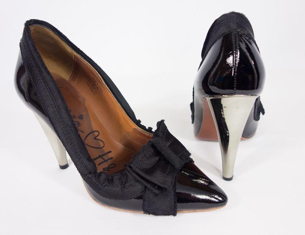 LANVIN H&M 39 8 Black Patent Leather Grosgrain Bow Pumps Shoes Chrome Heel #LanvinHM #PumpsClassics #SpecialOccasion