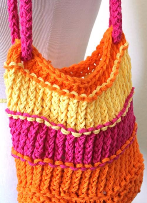 Knitted Bag Bright Loom Knit Cotton Tote Bag By Sparkleknit 058