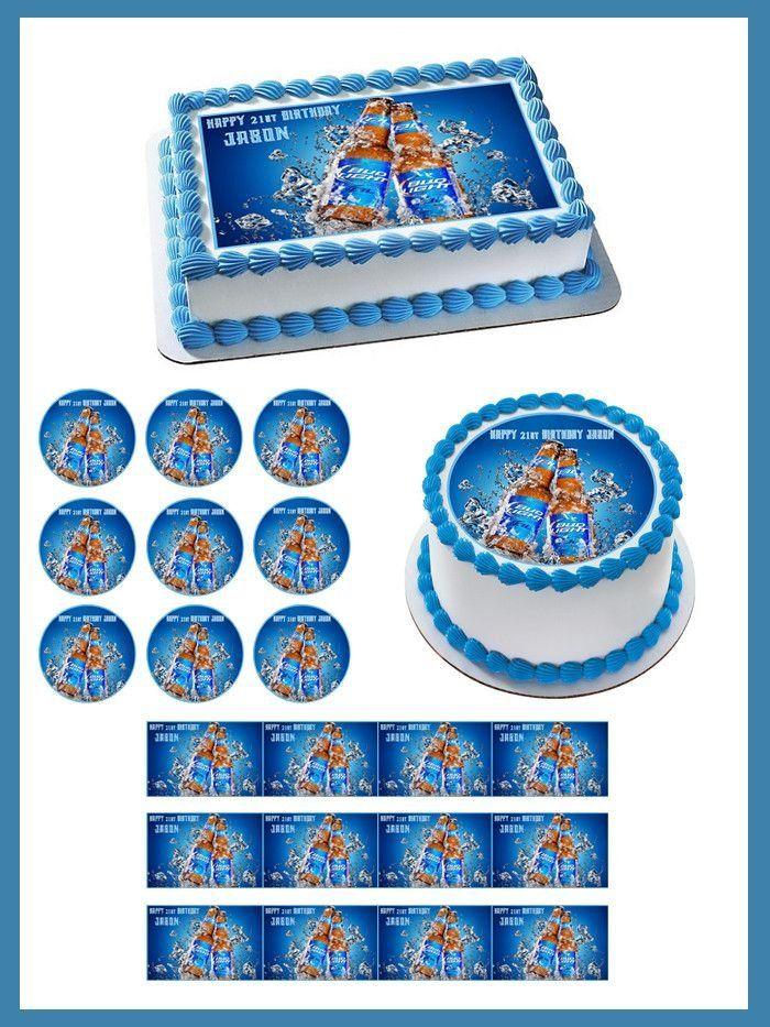 Bud Light Edible Birthday Cake OR Cupcake Topper Edible cake Bud