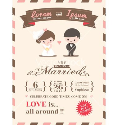 Wedding Invitation Card Template Vector By Kraphix On Vectorstock
