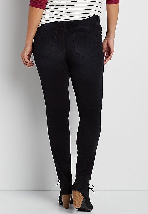 d8fce2dc376ec plus size skinny IT fit corduroy pants in black