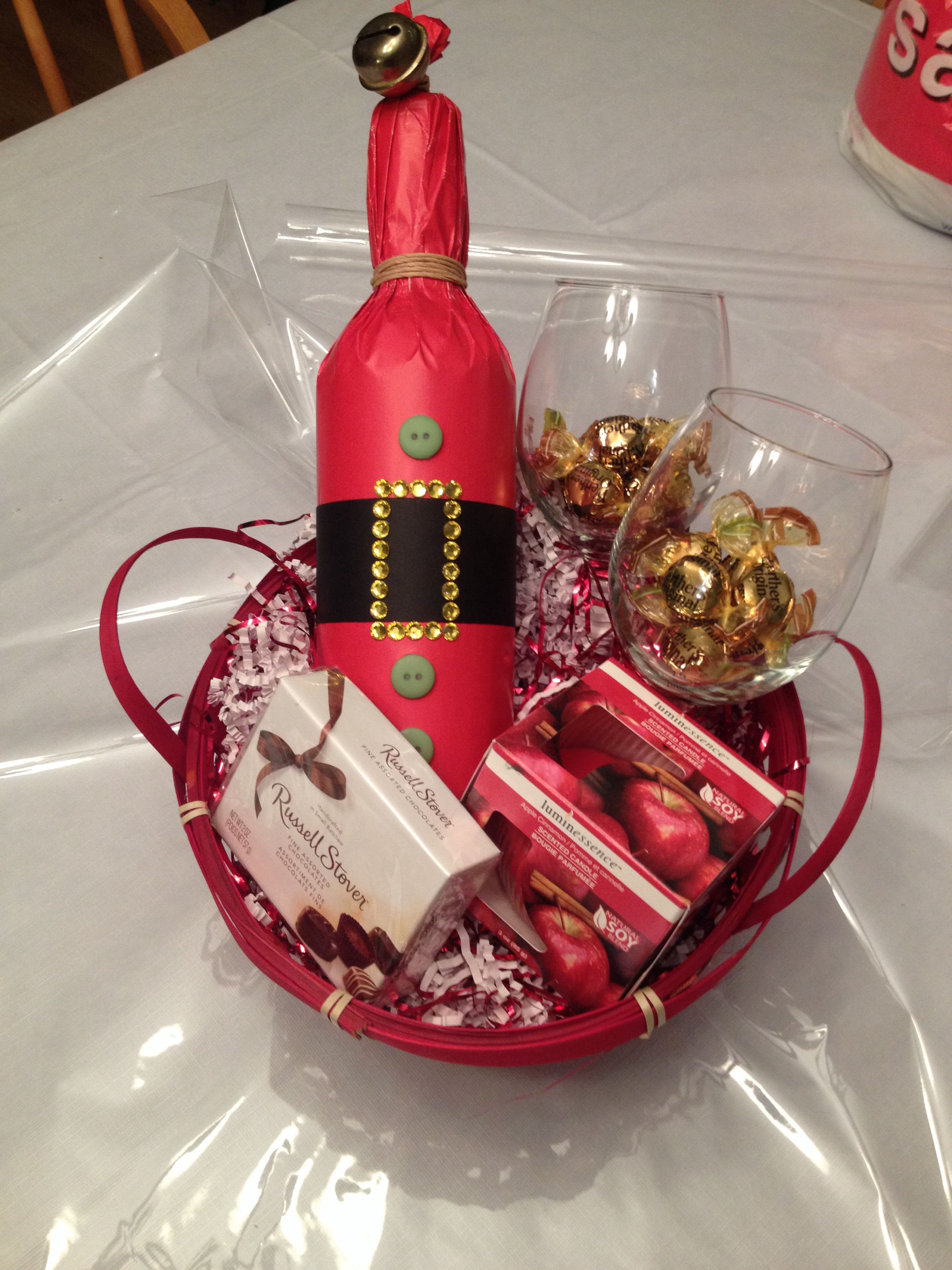 Gift Basket For Two Includes Bottle Of Wine Santa Wrap 2 Wine Glasses Candle And Some Chocolates Candy Wine Bottle Bottle Chocolate Candy