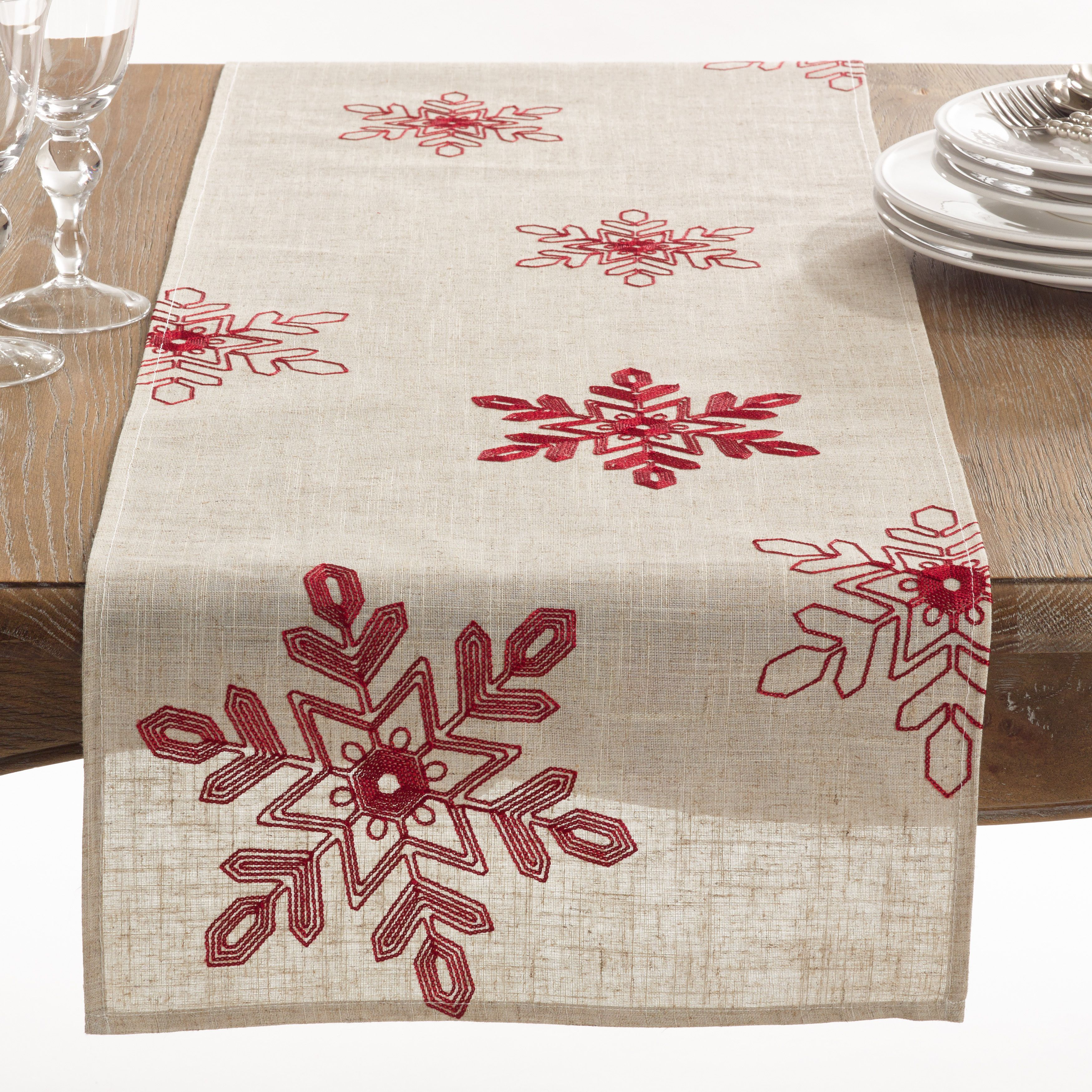 Saro Nivalis Collection Snowflake Design Runner Red Polyester Christmas Table Runner Christmas Table Cloth Embroidered Table Runner