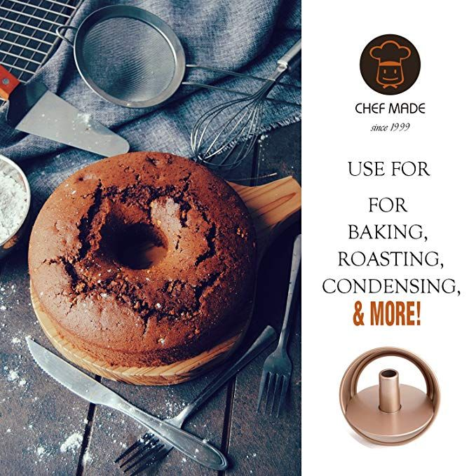 Champagne Gold CHEFMADE Round Cake Pan 8-Inch with Removable Loose Bottom Non-Stick Chiffon Bakeware for Oven and Instant Pot Baking