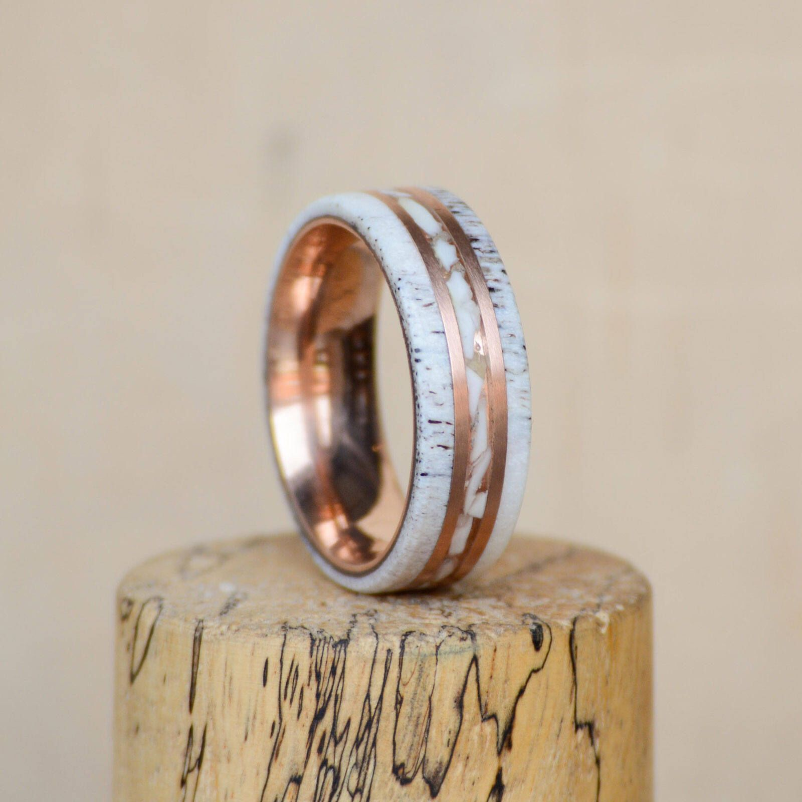 one engagement rings idea elegant mens band ivory elk by flat beautiful wedding titanium deer of camo antler ring