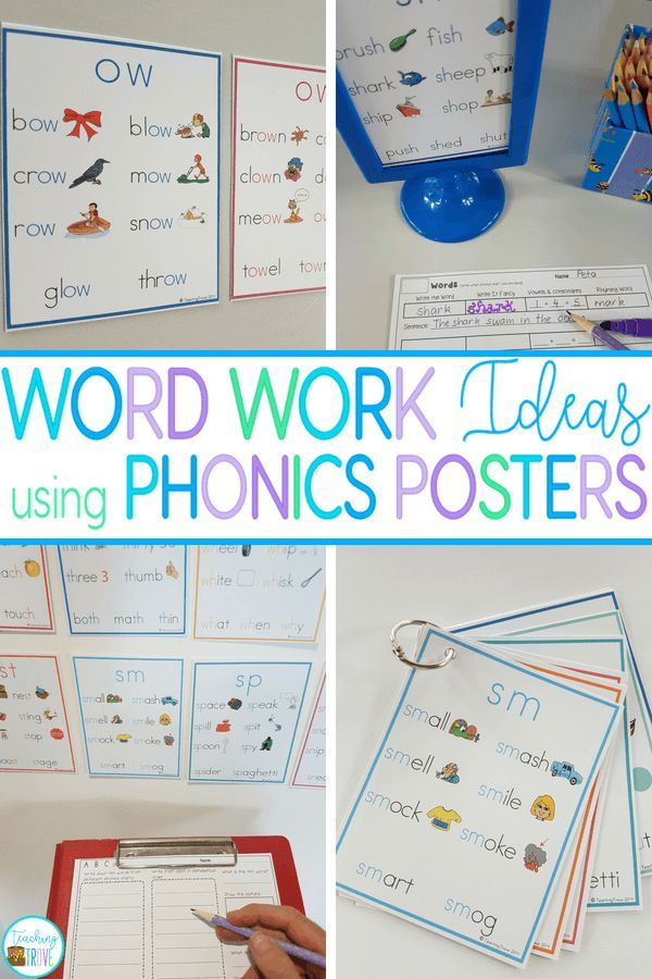 Word Work Ideas using Phonics Posters Literacy Stations