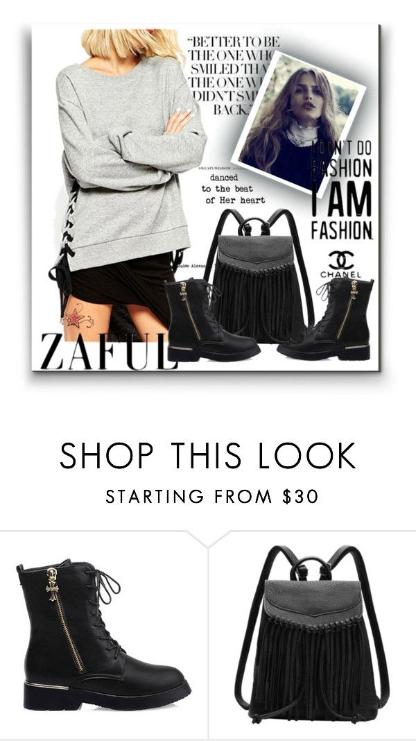 """""""ZAFUL '55"""" by aaidaa ❤ liked on Polyvore featuring Chanel, women's clothing, women, female, woman, misses and juniors"""