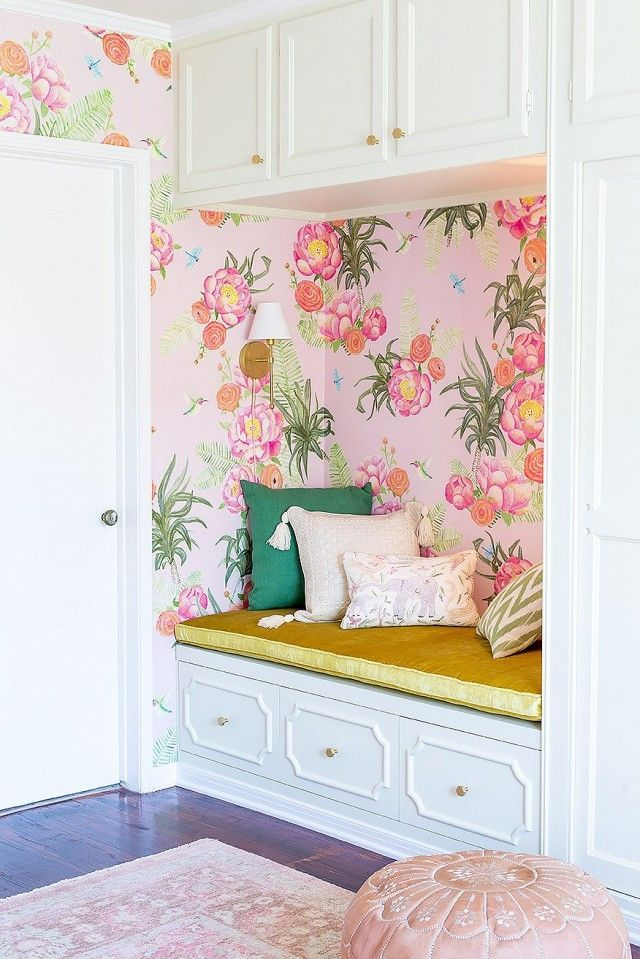 Tour a glam floral nursery by emily henderson floral nursery colorful nursery nook built in seat floral wallpaper wall sconces pink voltagebd Images