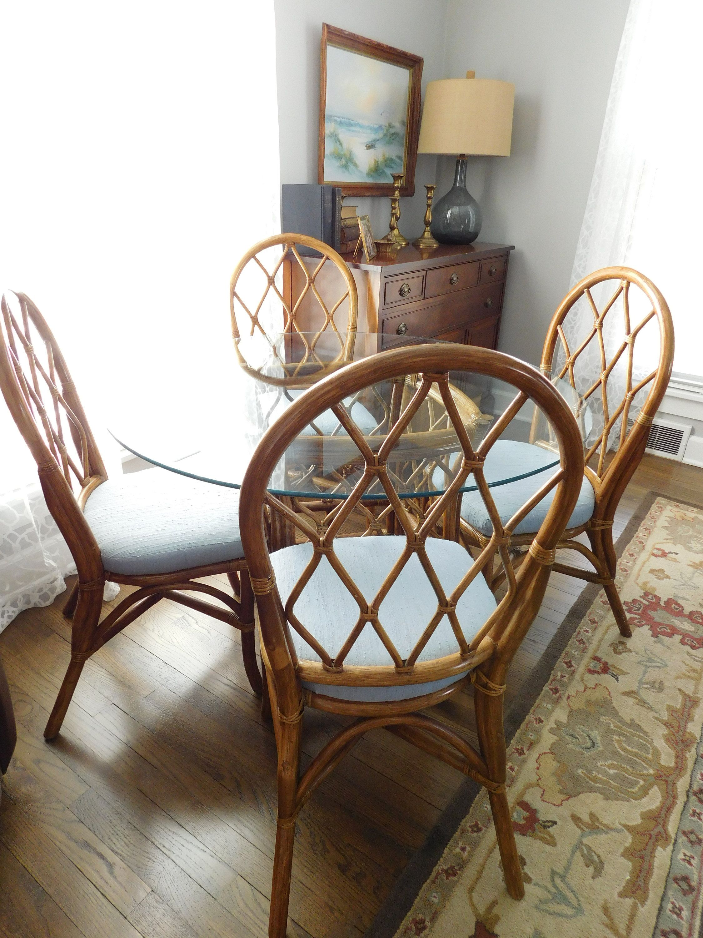 PICK UP ONLY Vintage Bamboo Glass Top Dining Room Set