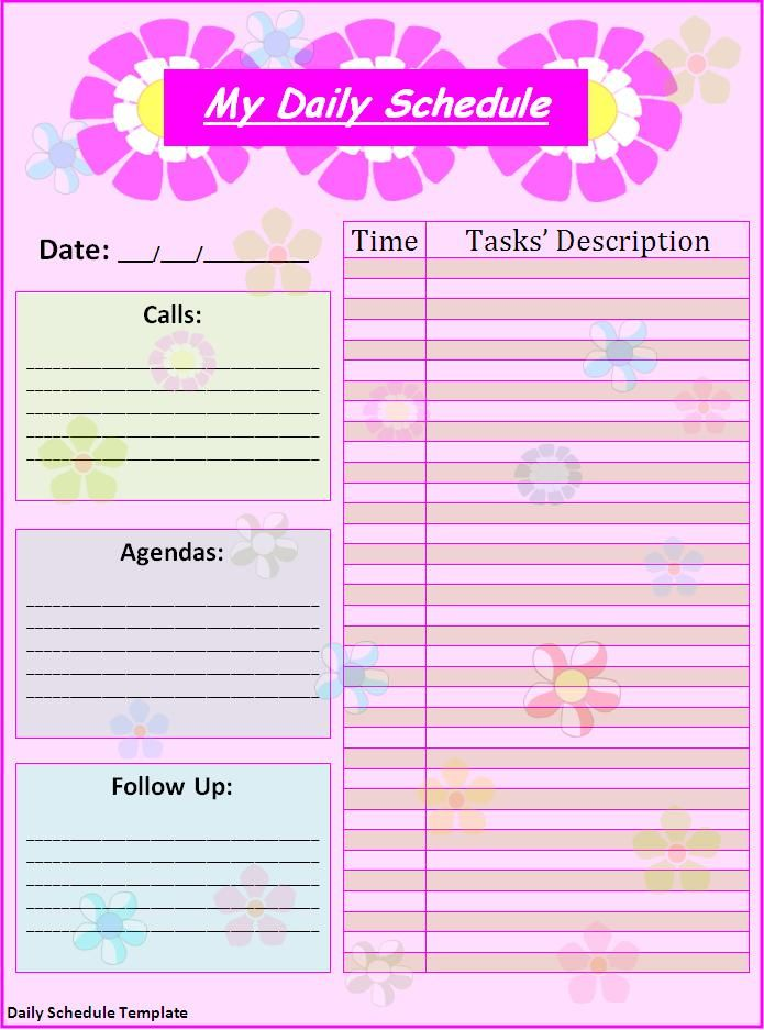 schedule templates free printable Free Daily Schedule Template