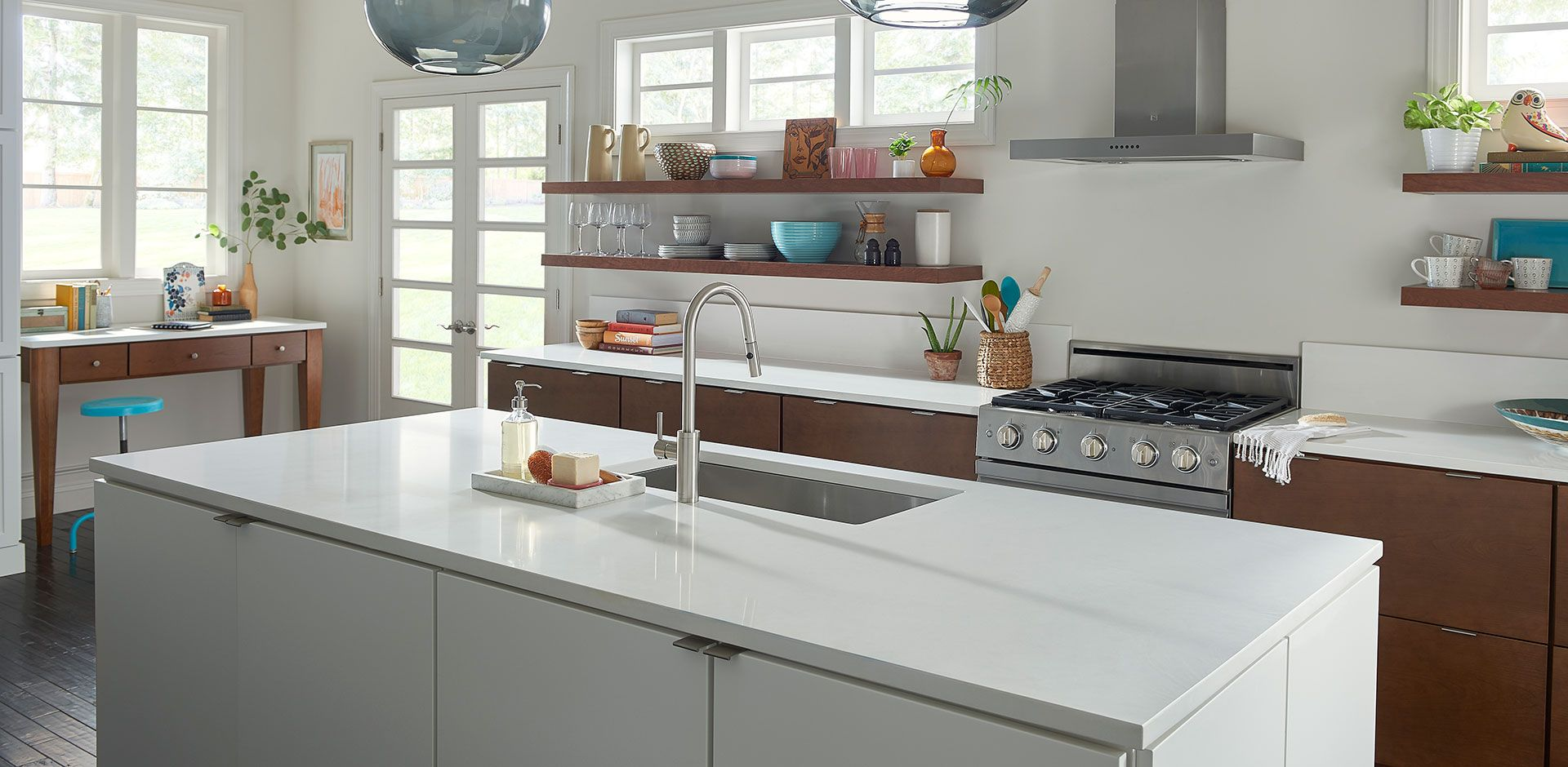 Arctic White Quartz Is A Solid Bright White Slab With No Pattern