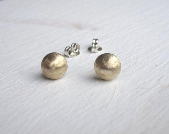 Acorn Brass Stud Earrings Brass Acorn with Sterling Silver Post
