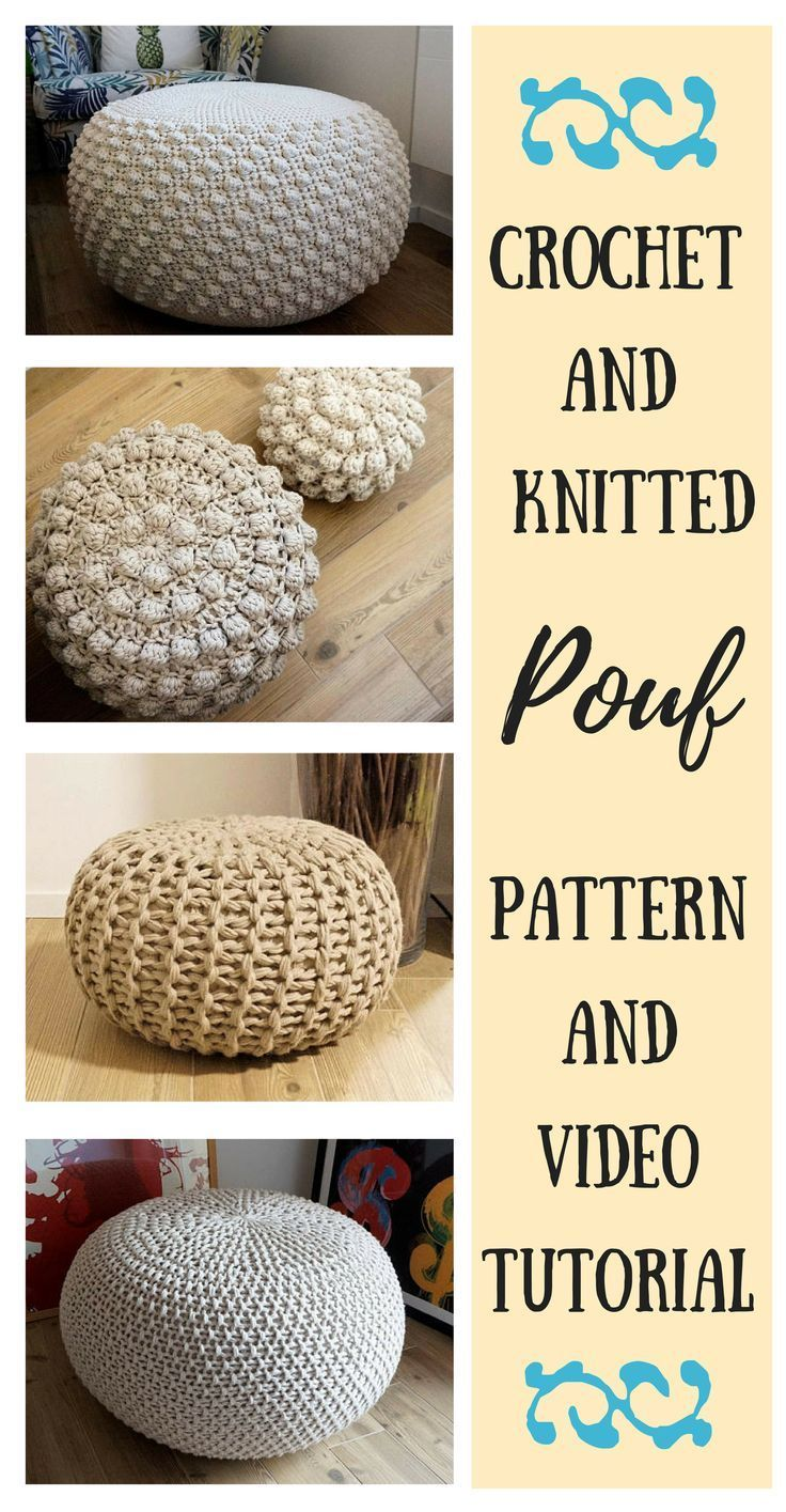 VIDEO TUTORIAL 4 Knitted & Crochet Pouf Floor cushion Patterns ...