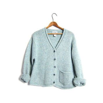 Slouchy LL Bean Cardigan Sweater Chunky Wool Knit Cropped Marled ...