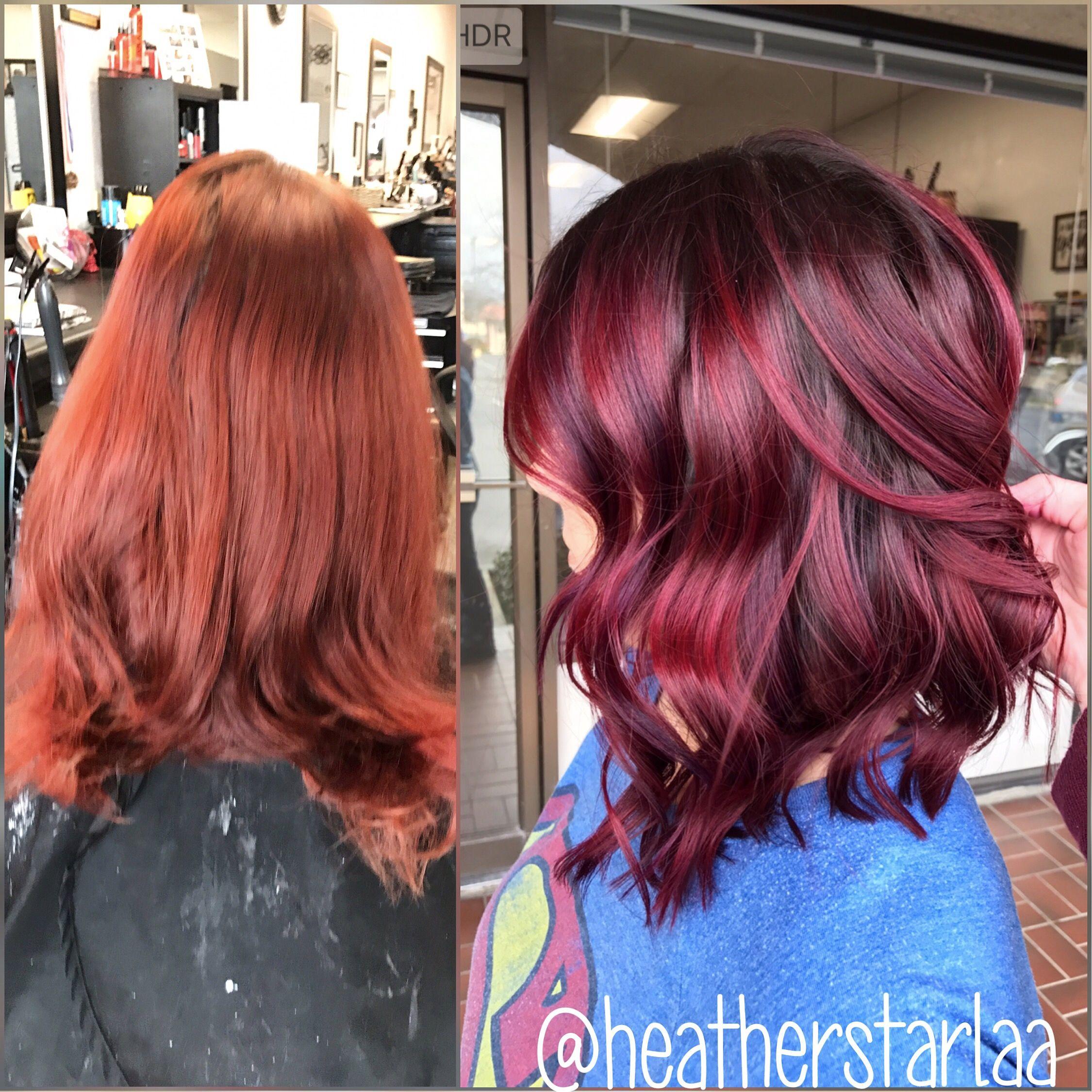 Shadow Root Burgundy Hair Short Hair Above The Shoulder