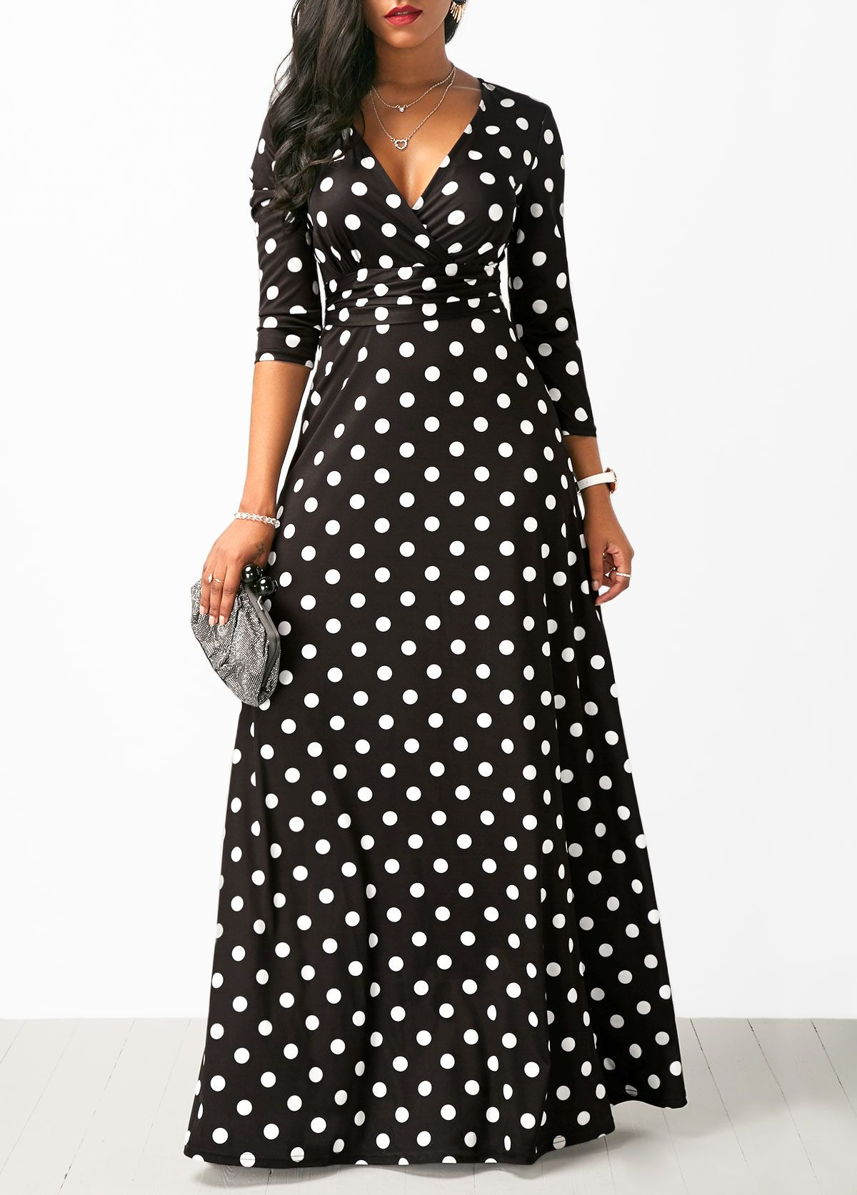 cc81cba0f5 Polka Dot Print High Waist Black Maxi Dress