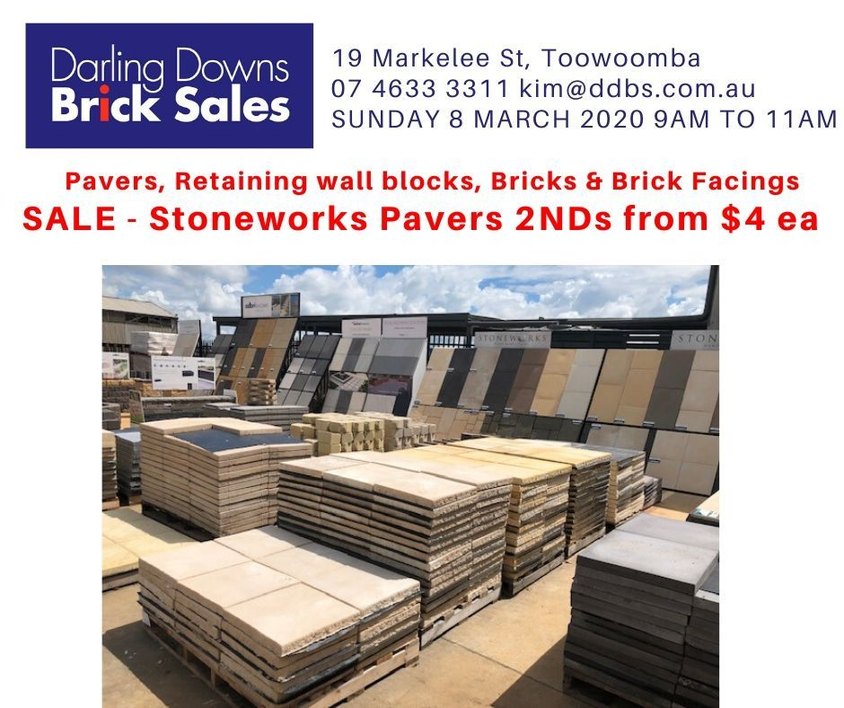 Sale Sunday 8 March 2020 Centurystone Pavers 2nds 400x400x40mm From 4 Ea In 2020 Brick Retaining Wall Blocks Toowoomba