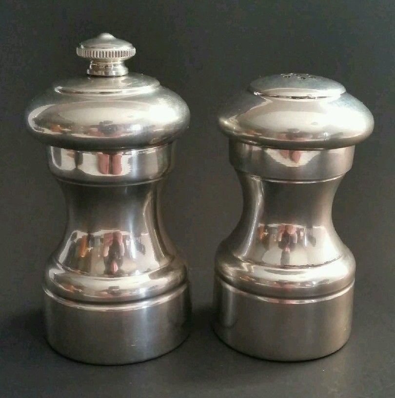 vintage peugeot pewter pepper mill grinder salt shaker made in france italy