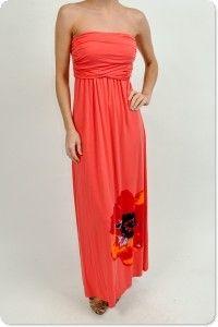 Coral Floral Border Dress $68