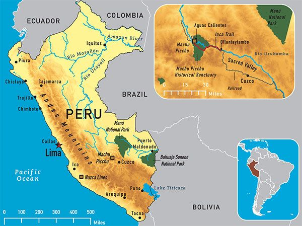 So many things to see - machu picchu, Lake icaca, Cuzco, Nazca ... Image Map Of South America Lago Caca on