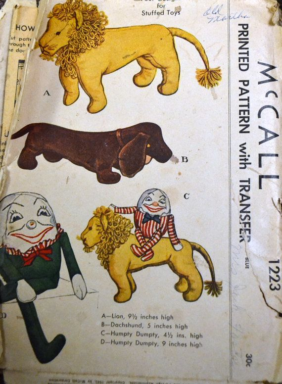 Vintage 1940\'s Sewing Pattern McCall 1223 Soft Dolls Dog | Baby ...