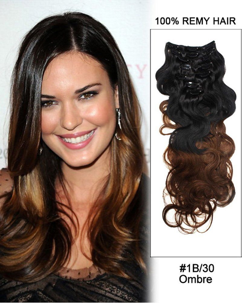 7pcs 1b 30 Black Auburn Ombre Body Wave Remy Hair Clip In Hair