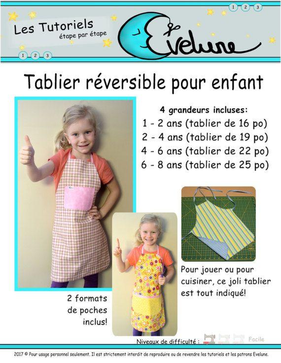 Tablier réversible pour enfant PDF / Patron Français / 4 grandeurs ...