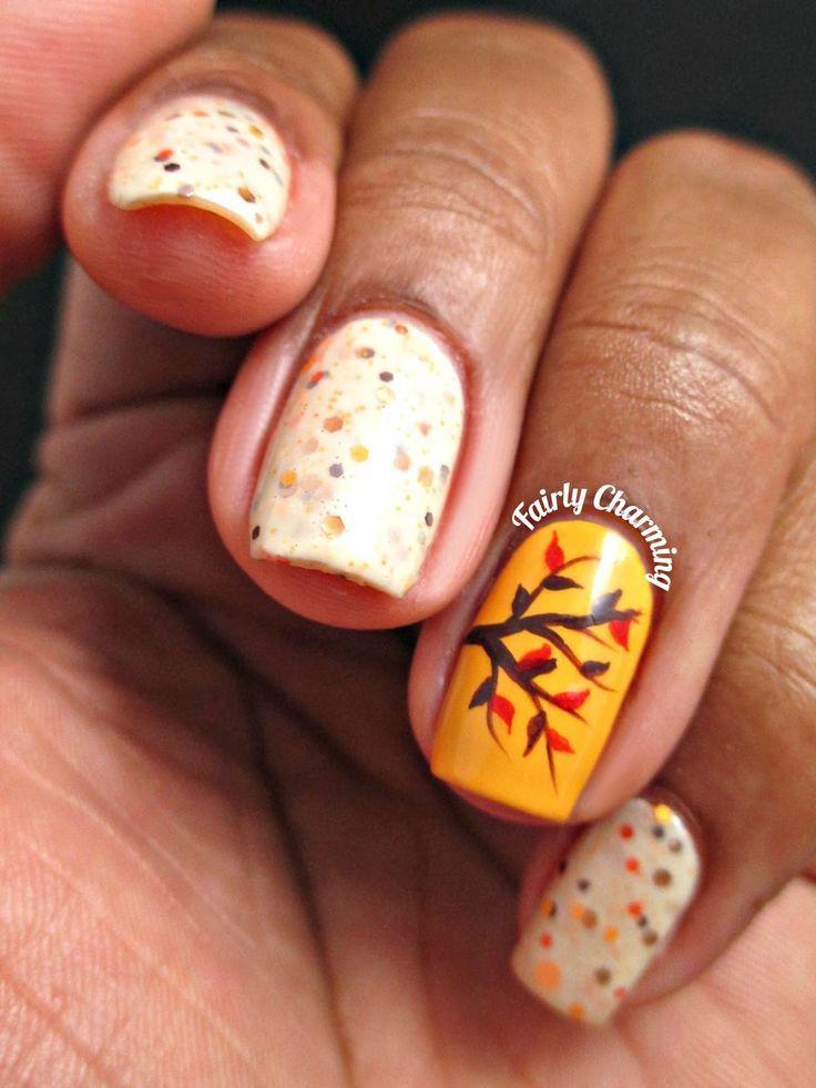 Tree leaves and polka dots nails in Autumn theme | Nail nail ...