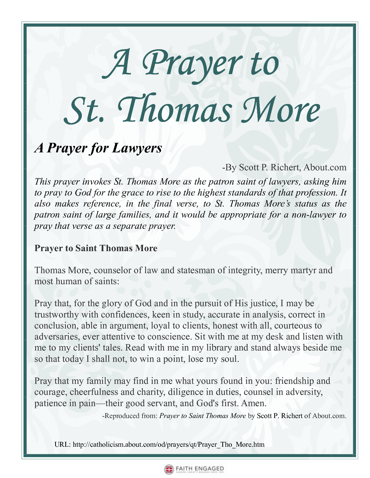 St  Thomas More Prayer | Prayer to St Thomas More A Prayer for