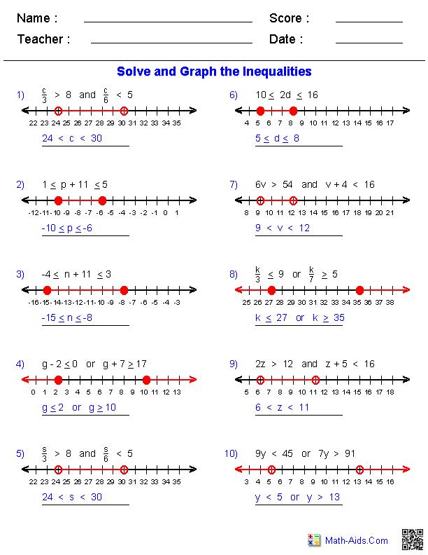 Algebra 1 Worksheets Inequalities Worksheets Algebra Worksheets Compound Inequalities Pre Algebra Worksheets