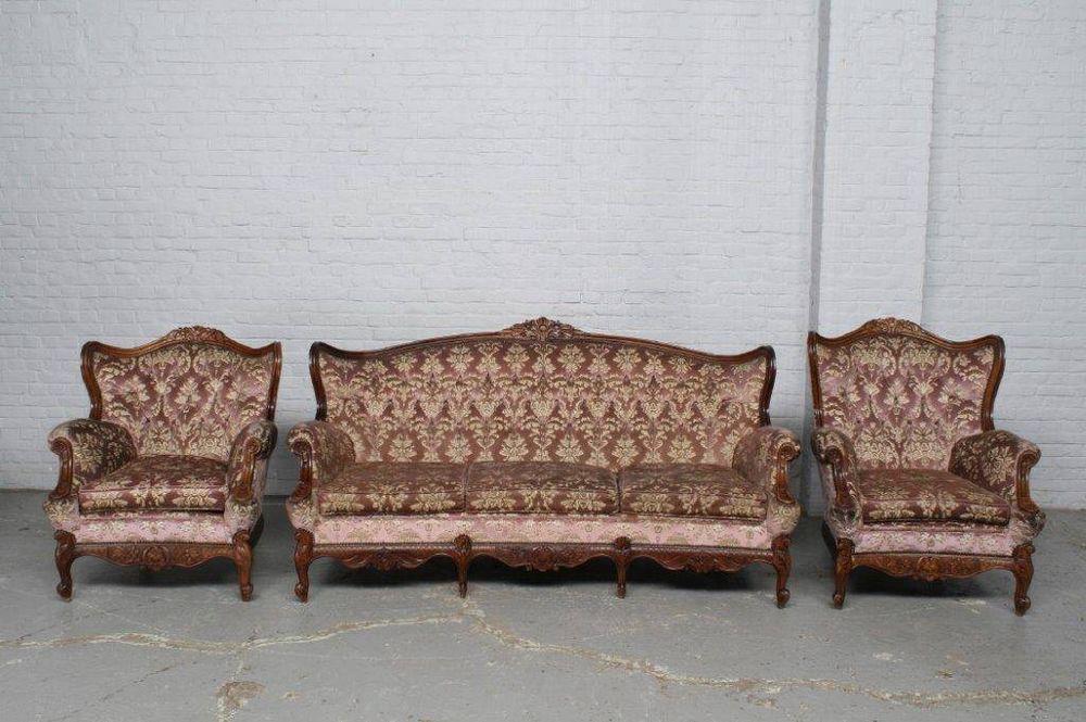 3 Pc Louis Xv Style 1940 S Old Walnut Vintage Sofa Set 14be6132