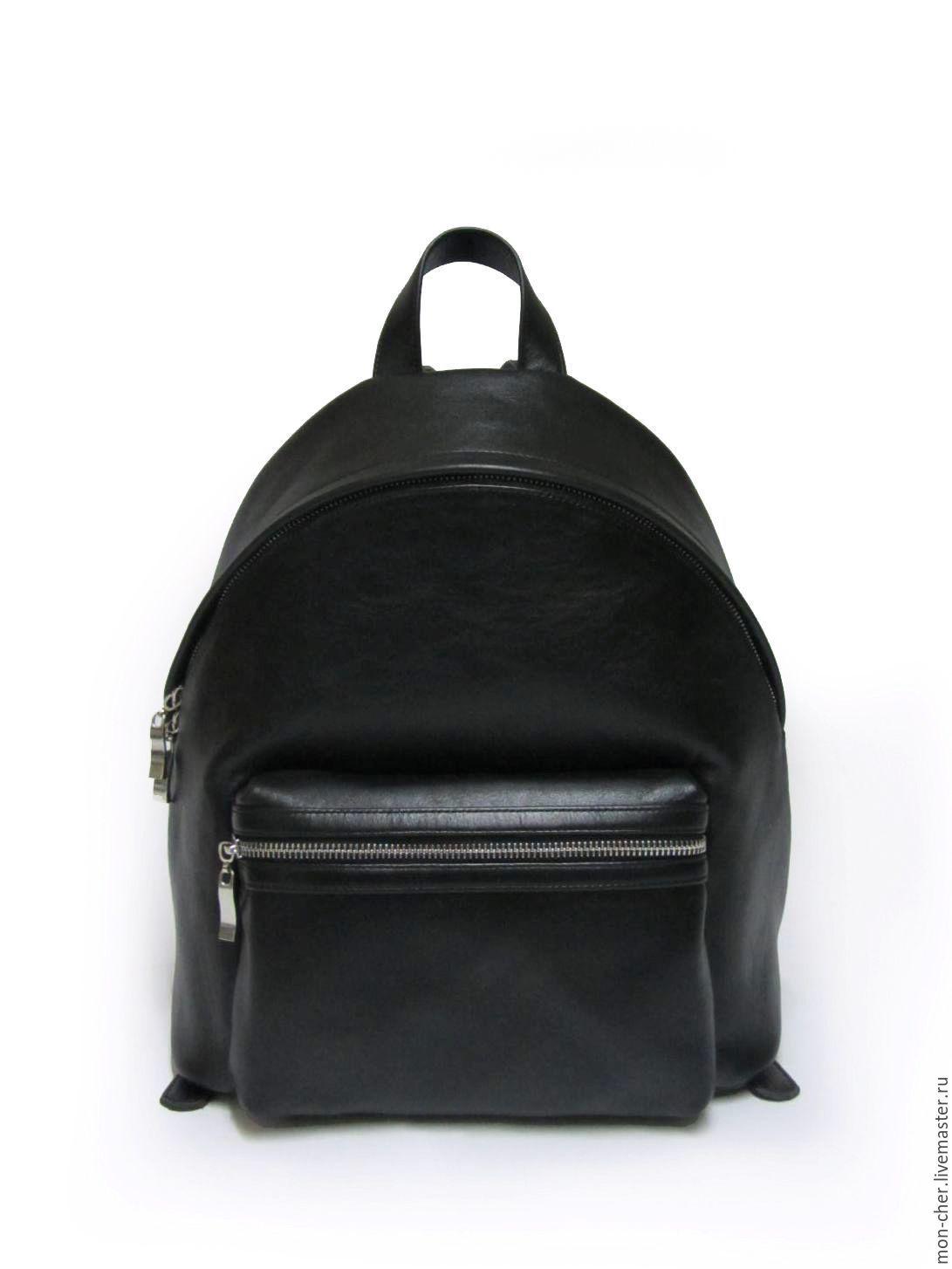 Купить Рюкзак женский кожаный - однотонный, черный, черная кожа, рюкзак  женский, рюкзак 68098339521