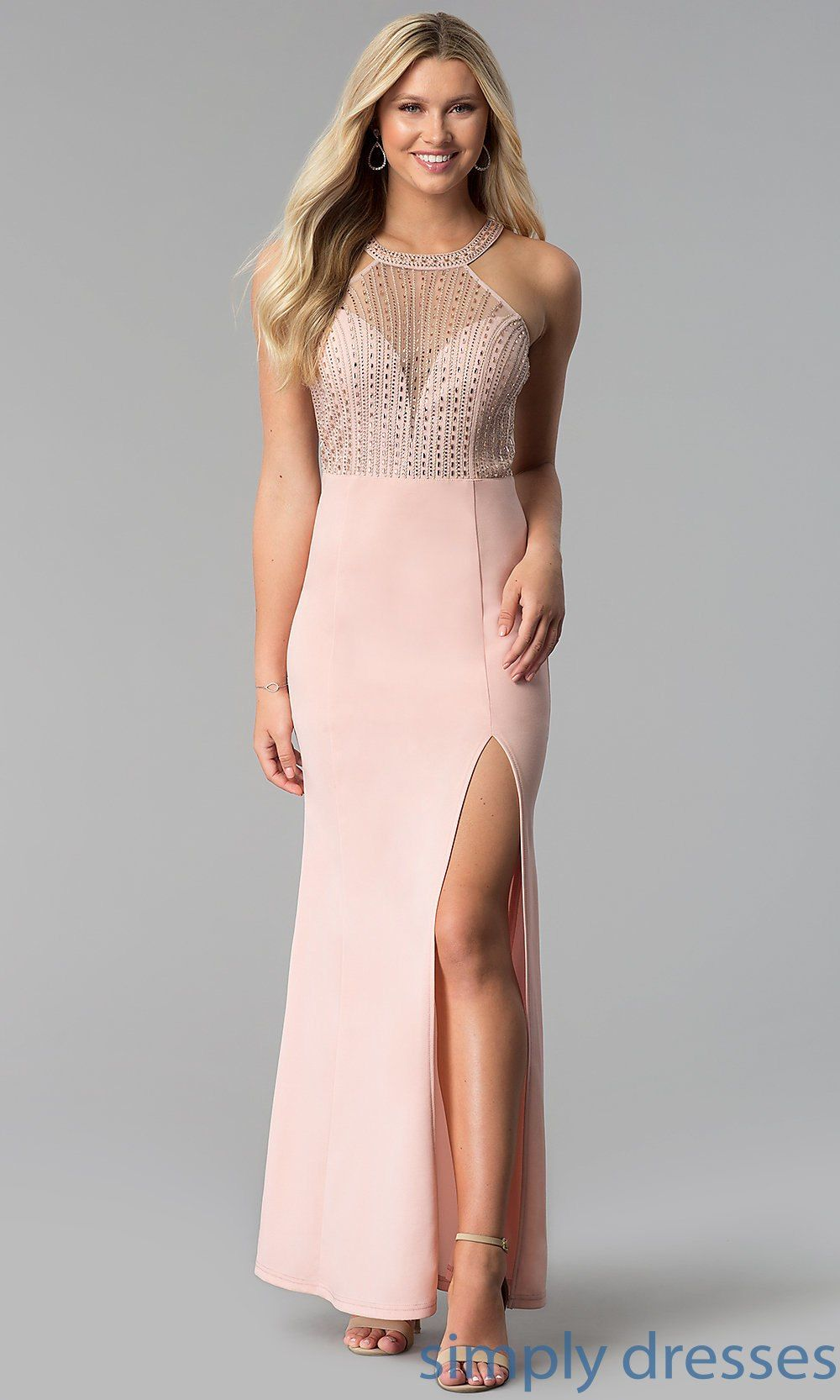 Long highneck sheerbodice prom dress with slit wedding
