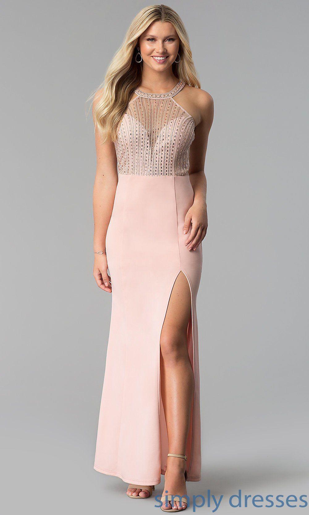 Long highneck sheerbodice prom dress with slit wedding