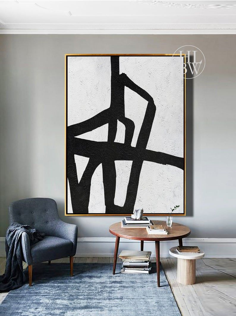 Extra large abstract painting vertical wall art mid