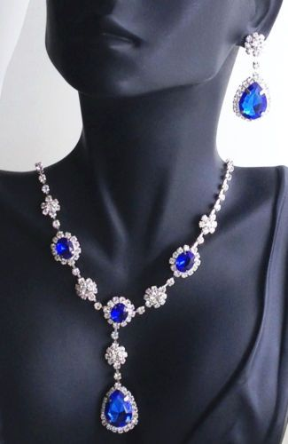 dac03fedc5302 Bright-Blue-Rhinestone-Necklace-and-Earring-Set   eBay Prom Pageant ...