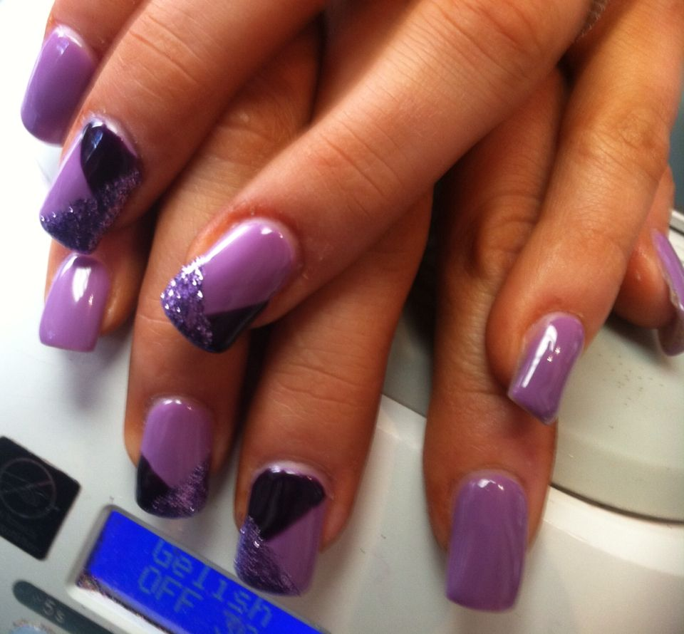 Purple funky French. Shellac on acrylic nails. | Nails by LYSA ...