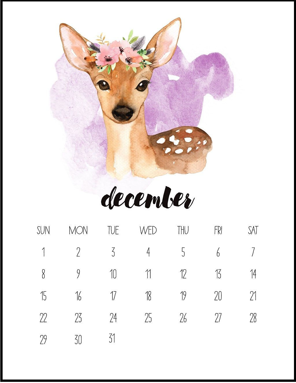 December 2019 Calendar Animals Watercolor December 2019 Printable Calendar. | IG POST | December