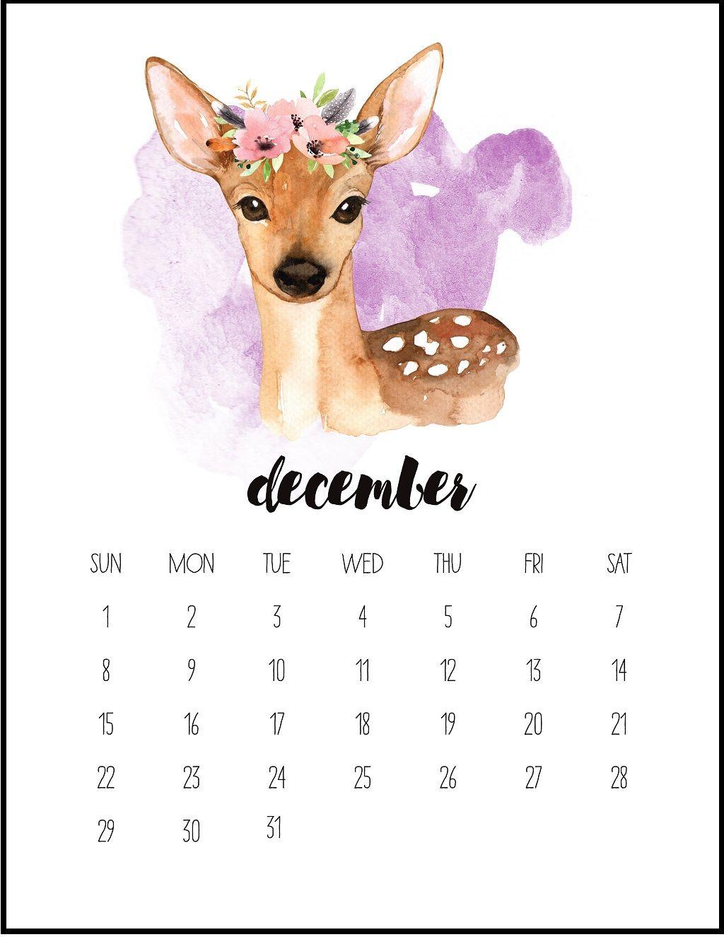 Watercolor December Printable Calendar