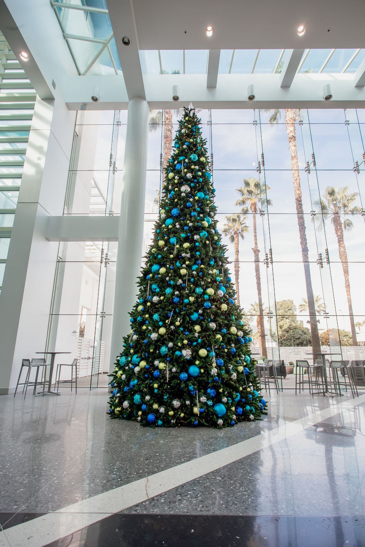 The Ontario Convention Center Had A Royal Blue Coastal Christmas This Year Their Color Palette Included Blue T In 2020 Holiday Decor Coastal Christmas Blue Christmas