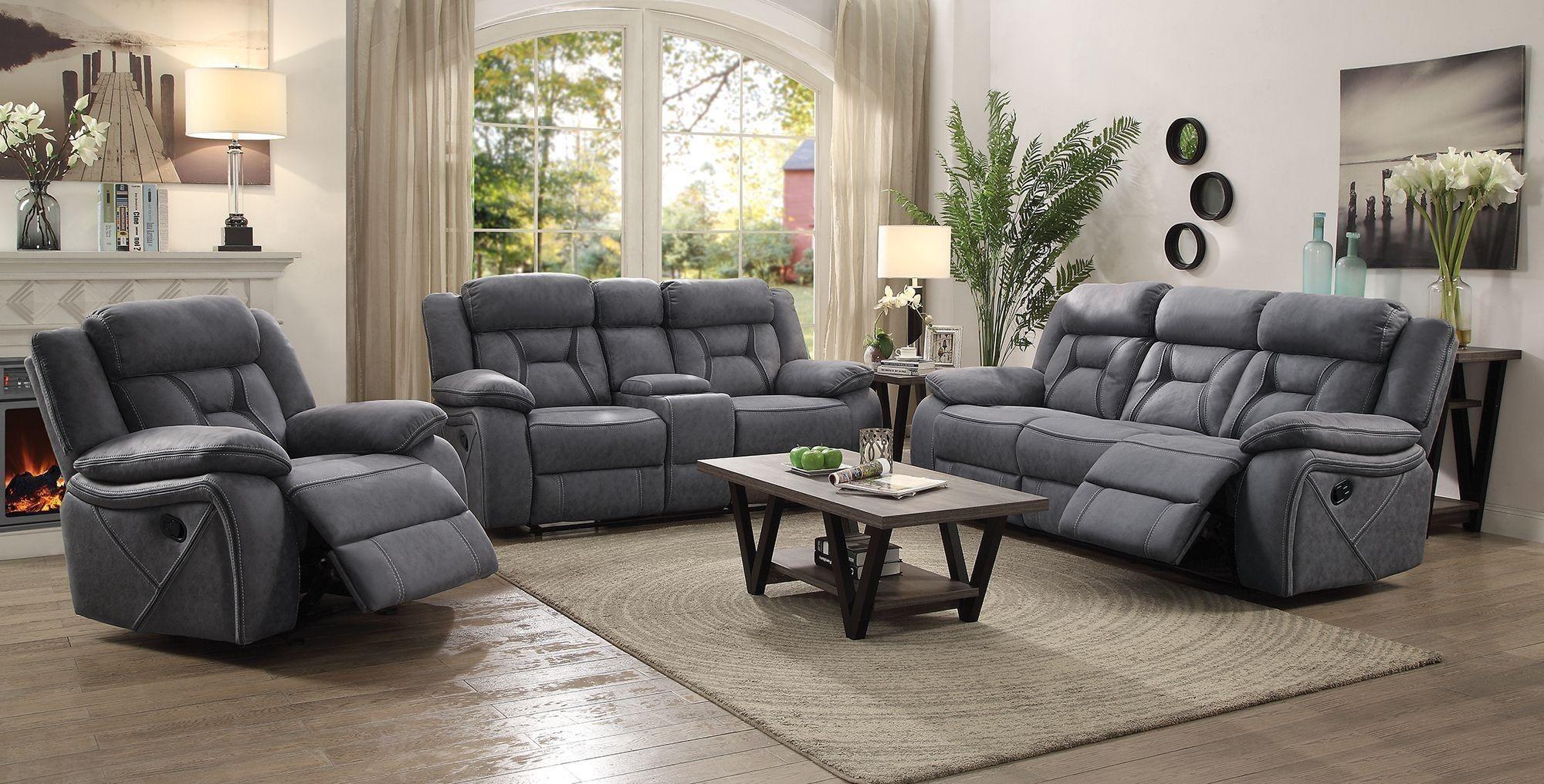 Higgins Gray Reclining Living Room Set In 2020 Sofa And Loveseat Set Reclining Sofa Living Room Sets #suede #living #room #sets