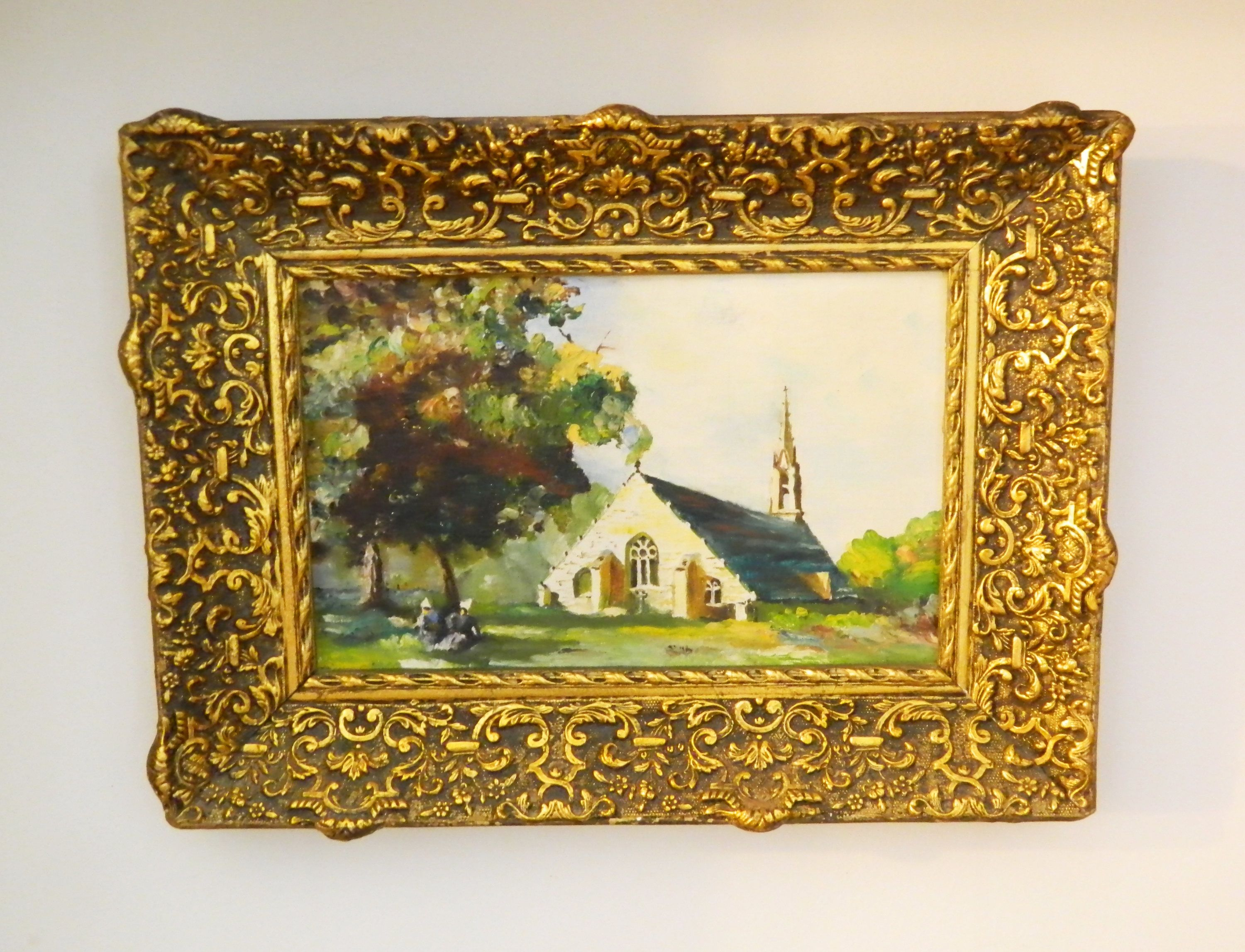 Vintage Original Oil Painting On Canvas Church In The Country